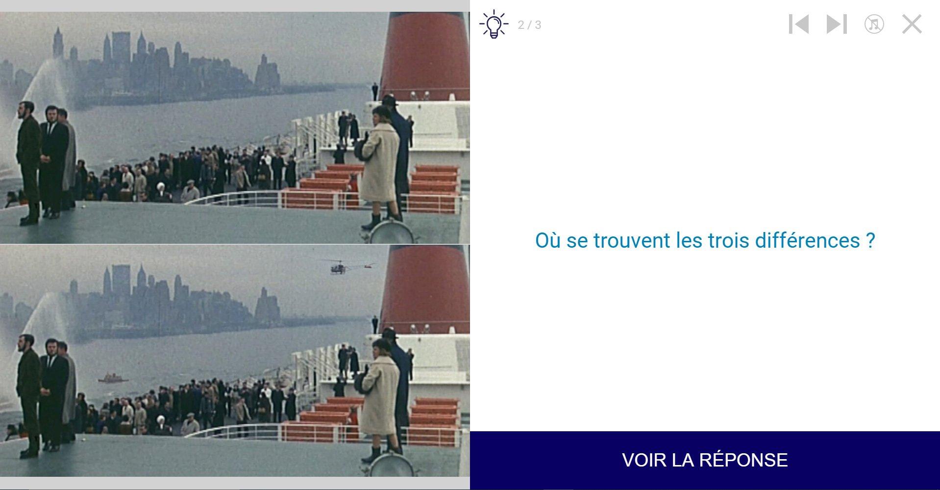 TVneurones Le Grand Jeu : logiciel qui utilise les archives vidéos de l'INA pour la stimuler les capacités cognitives des personnes âgées - exemple 2 activité module Attention