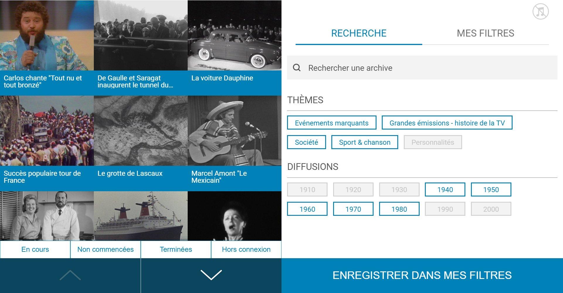 TVneurones Le Grand Jeu : logiciel qui utilise les archives vidéos de l'INA pour la stimuler les capacités cognitives des personnes âgées - écran sélection activité 2