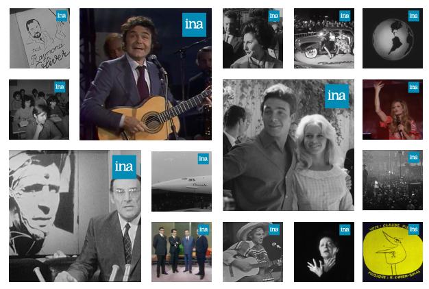 TVneurones Le Grand Jeu : logiciel utilisant les archives vidéos de l'INA pour la stimulation cognitive des seniors - mosaïque extraits INA
