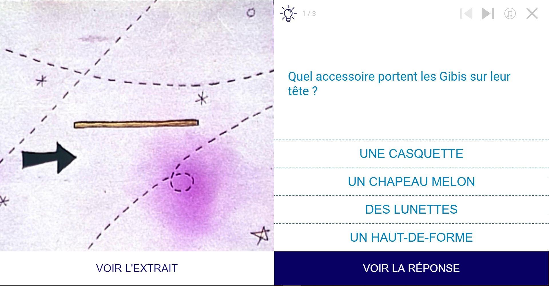 TVneurones Le Grand Jeu : logiciel qui utilise les archives vidéos de l'INA pour la stimuler les capacités cognitives des personnes âgées - exemple activité module attention avec les Gibis