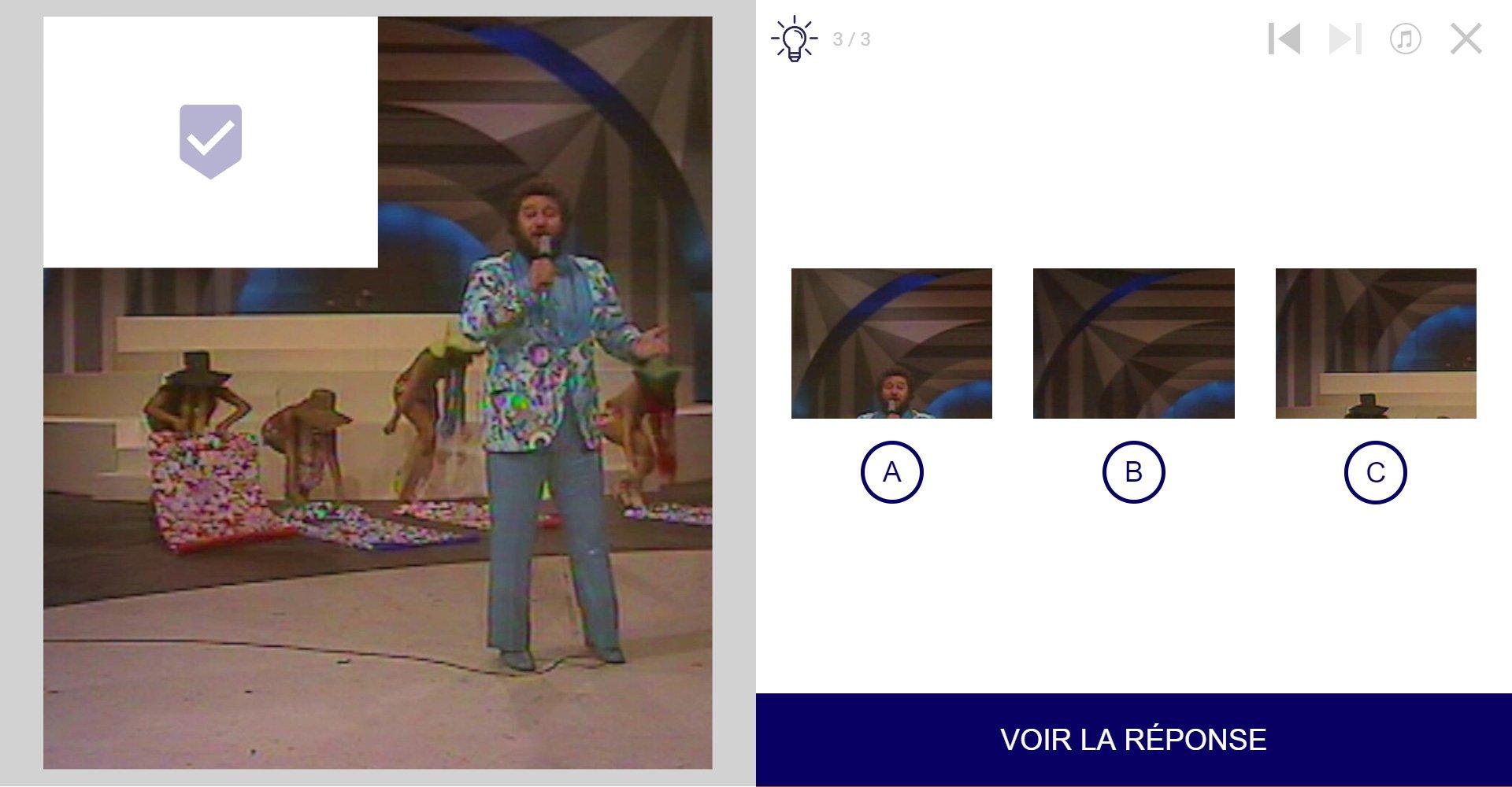 TVneurones Le Grand Jeu : logiciel qui utilise les archives vidéos de l'INA pour la stimuler les capacités cognitives des personnes âgées - exemple activité module attention avec les Carlos