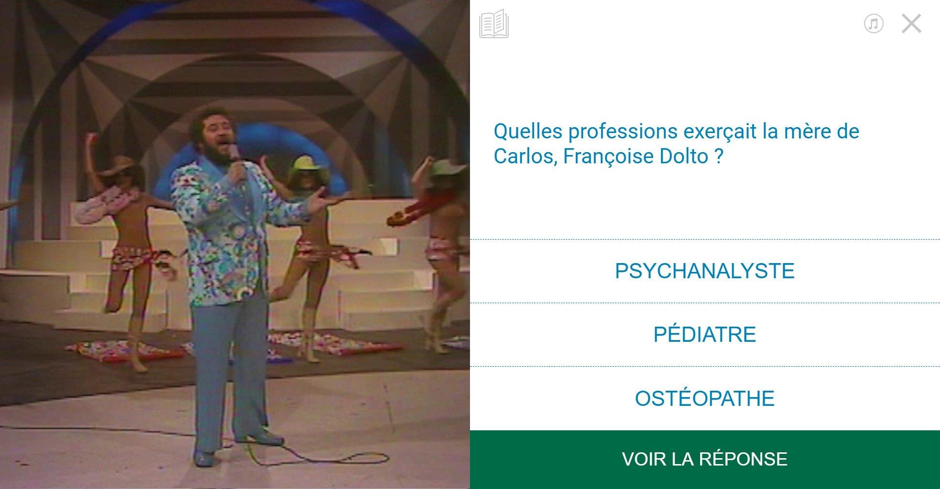 TVneurones Le Grand Jeu : logiciel qui utilise les archives vidéos de l'INA pour la stimuler les capacités cognitives des personnes âgées - exemple activité module culture générale avec Carlos