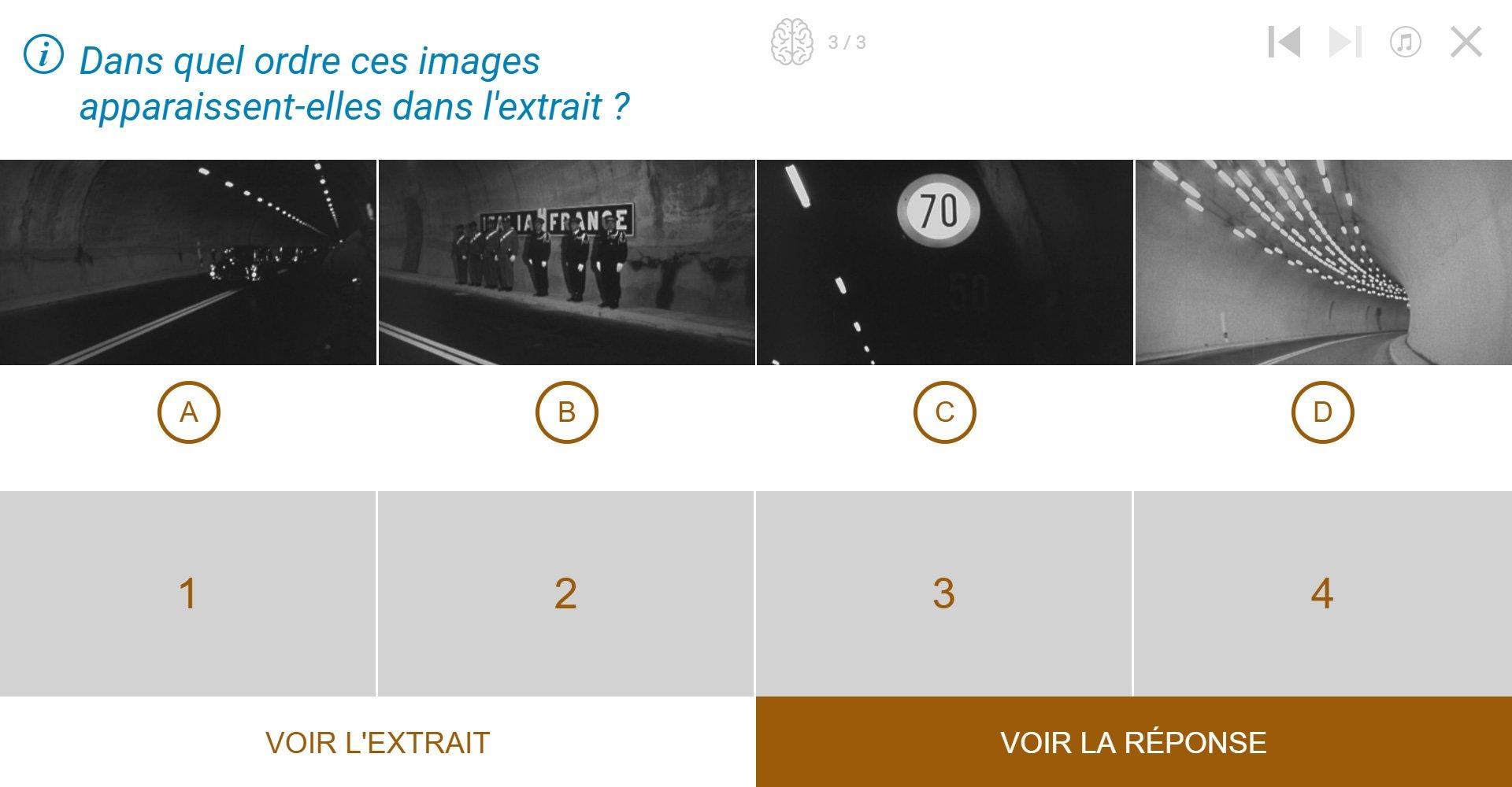 TVneurones Le Grand Jeu : logiciel qui utilise les archives vidéos de l'INA pour la stimuler les capacités cognitives des personnes âgées - exemple activité module Mémoire avec le Tunnel - remettre dans l'ordre