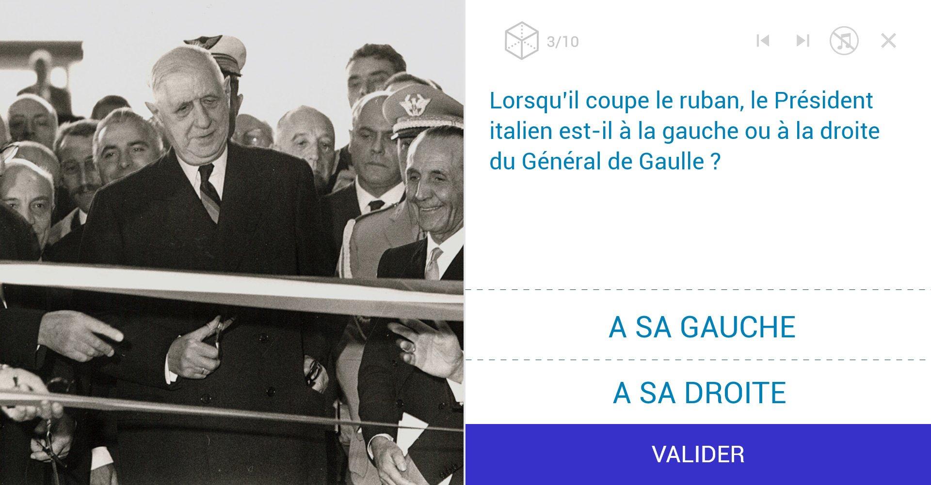 TVneurones Le Grand Jeu : logiciel qui utilise les archives vidéos de l'INA pour la stimuler les capacités cognitives des personnes âgées - exemple activité module visuo spatial avec De Gaulle